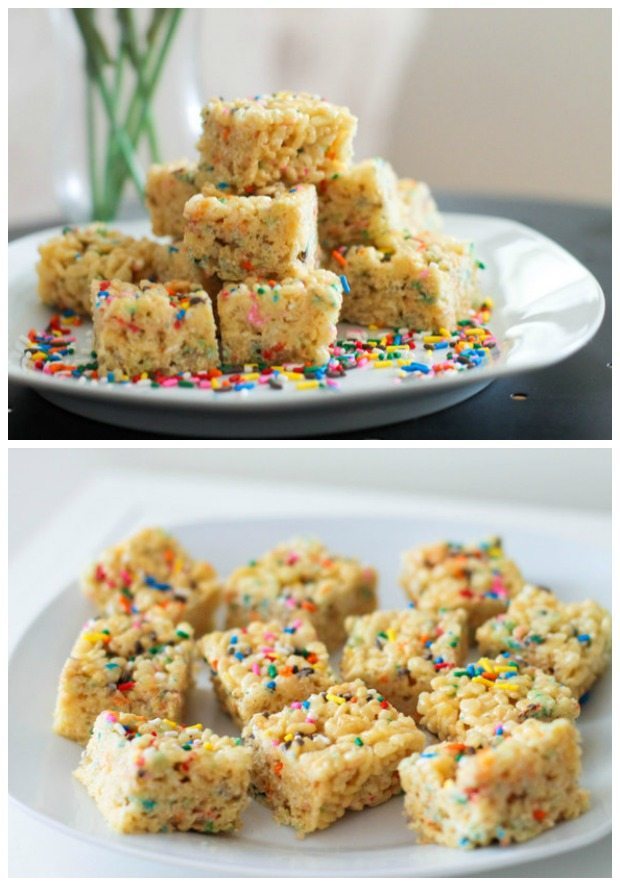 Cake Batter Rice Krispie Treats by sallysbakingaddiction.com