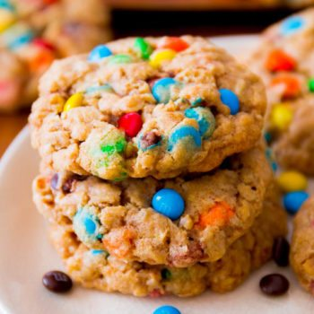 Chewy Oatmeal M+M Cookies