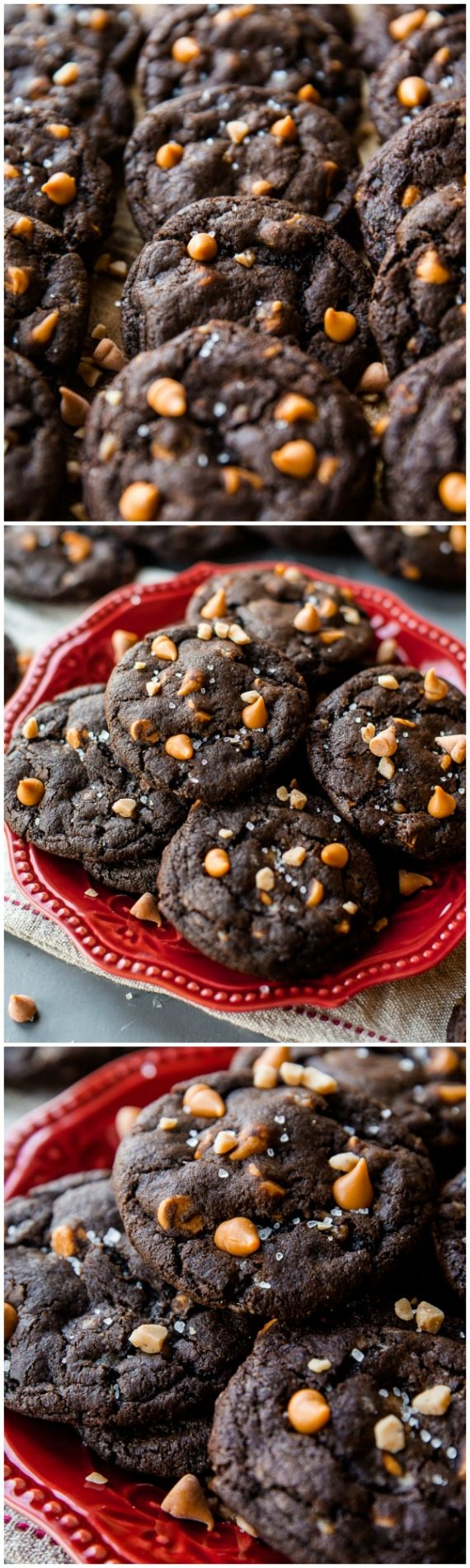 Satisfy your largest chocolate craving with these salty sweet butterscotch toffee chocolate fudge cookies! Recipe on sallysbakingaddiction.com