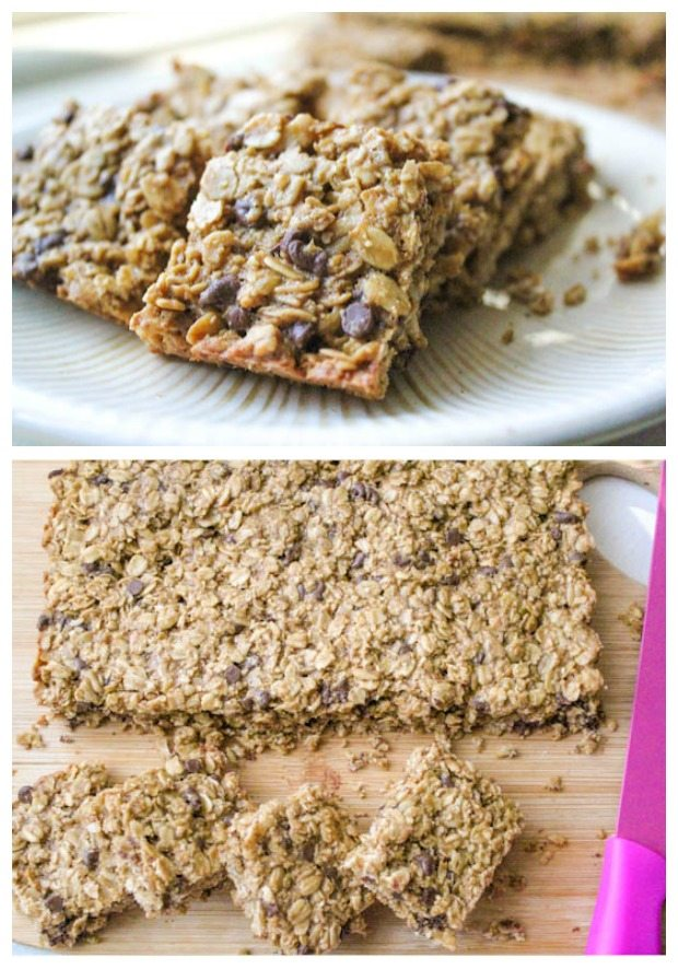 Chocolate Chip Cookie Granola Bars. Chocolate chip cookies in healthy granola bar form!
