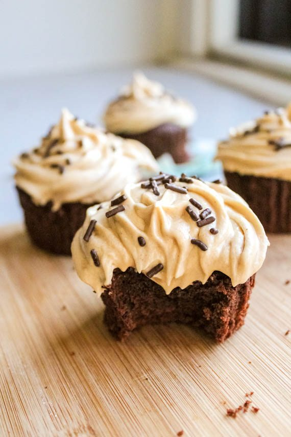 Fudgy brownie cupcakes with creamy peanut butter frosting - these are unbelievable!