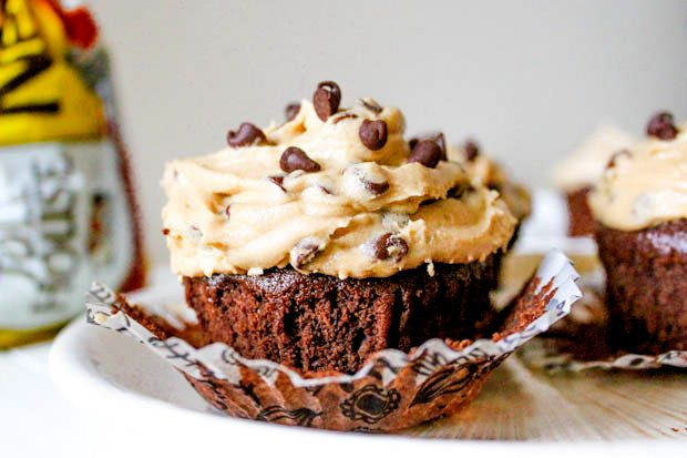 Fudgy homemade brownie cupcakes with cookie dough frosting on top. One incredible dessert that you'll want to make again and again!