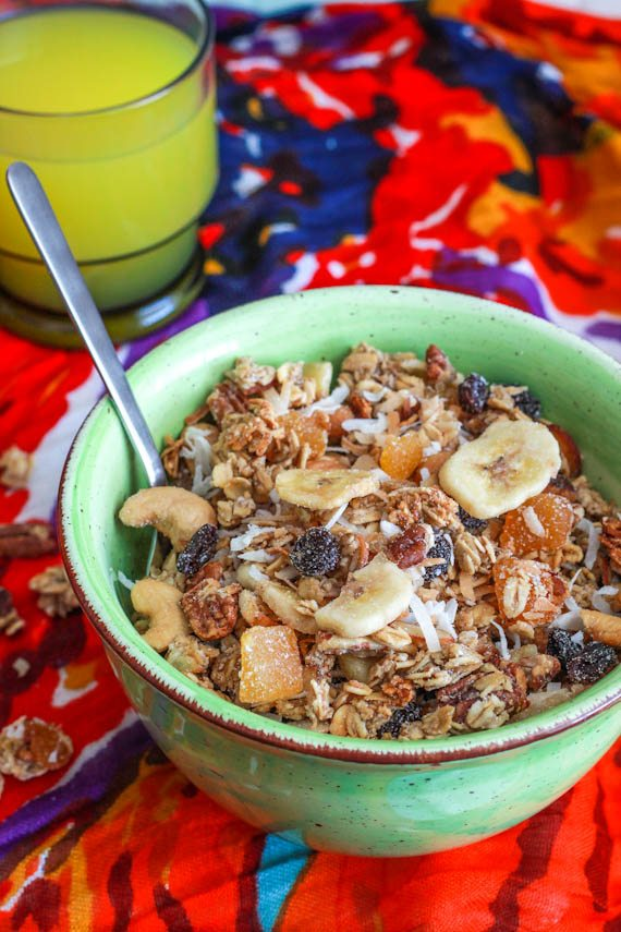 Toasted Coconut Tropical Granola. Gluten free, vegan, and addicting!