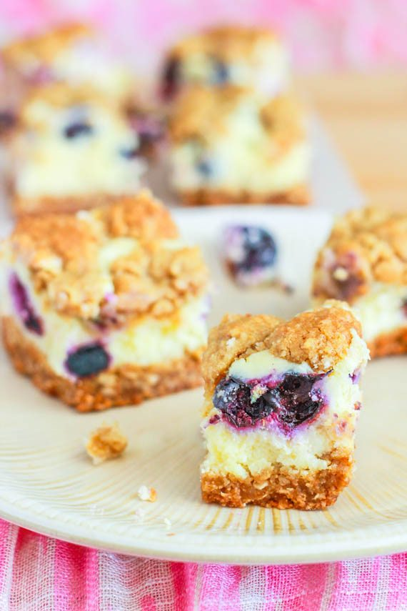 Blueberry Lemon Cheesecake Bars by sallysbakingaddiction.com