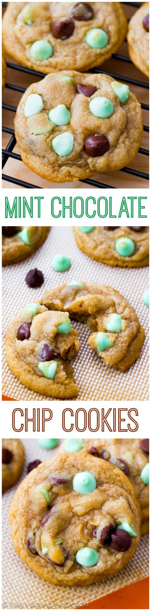 Mint Chocolate Chip Cookies - soft-baked style! These disappear whenever I bake them. Double the batch!