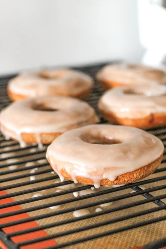 Low Fat Cinnamon Bun Donuts. Baked, not fried! Recipe at sallysbakingaddiction.com