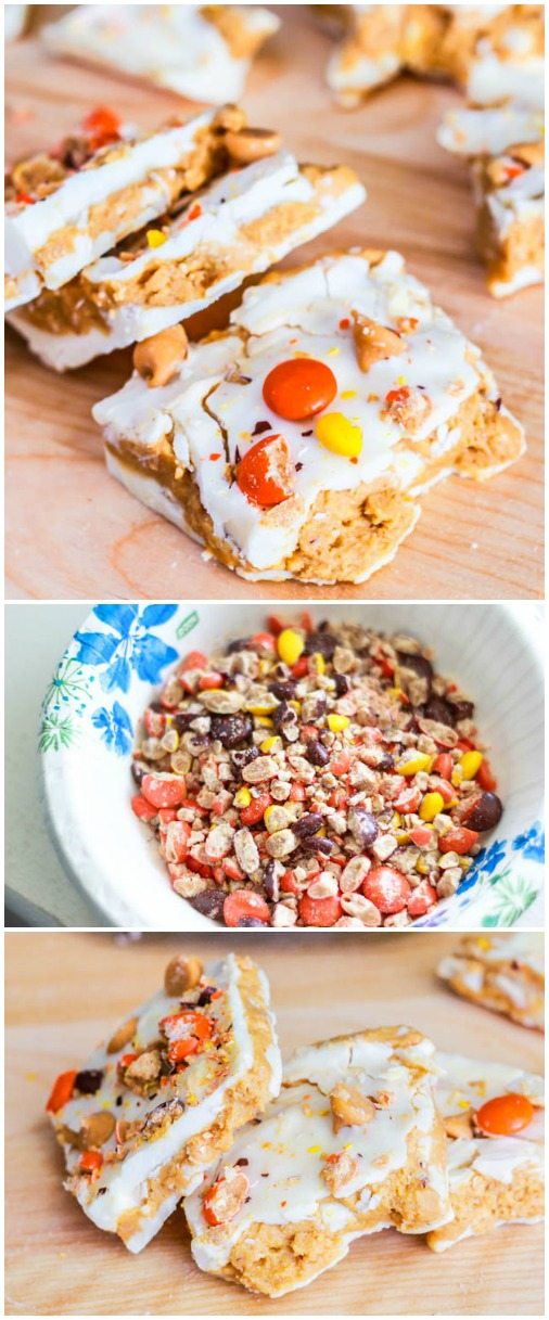 Reese's White Chocolate Bark - creamy peanut butter filling, lots of Reese's Pieces, and so easy to make!