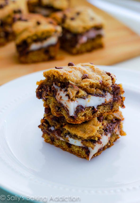 York Peppermint Patty Stuffed Chocolate Chip Cookie Bars. Soft, chewy, and gooey! Recipe at sallysbakingaddiction.com