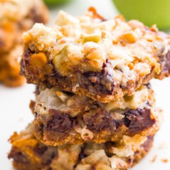 Apple Butterscotch 7 Layer Bars with chocolate chips and a graham cracker crust. These bars have everything!
