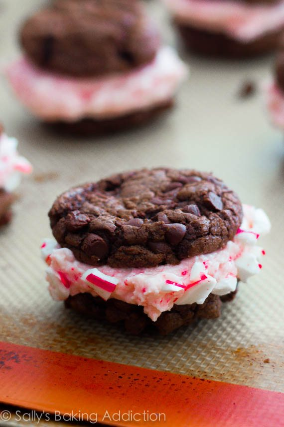 Chocolate Fudge Cookies with Candy Cane Buttercream | sallysbakingaddiction.com