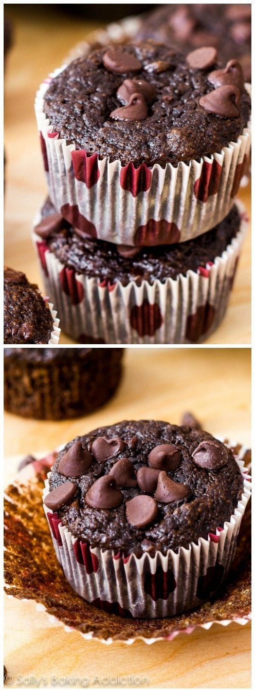 I call these Skinny Chocolate Banana Fudge Muffins my miracle muffins. No butter, no oil, whole wheat, with tons of rich fudgy flavor. You won't miss all the calories and fat!
