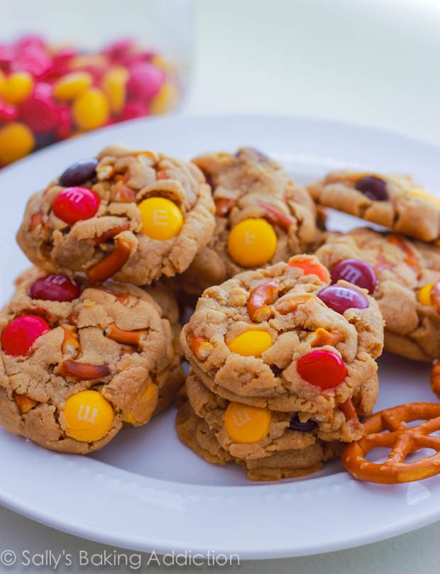 Mini Peanut Butter Pretzel M+M Cookies by sallysbakingaddiction.com