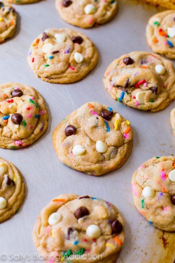 Cake Batter Chocolate Chip Cookies - recipe by sallysbakingaddiction.com