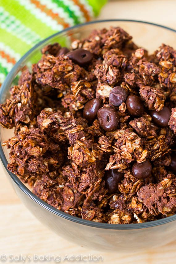 Super crunchy triple chocolate granola. When your chocolate craving hits, satisfy it with this wholesome breakfast or snack!