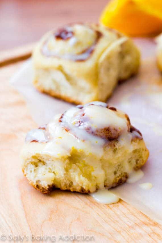 Fluffy Cinnamon Rolls with sweet orange glaze. | Recipe by sallysbakingaddiction.com