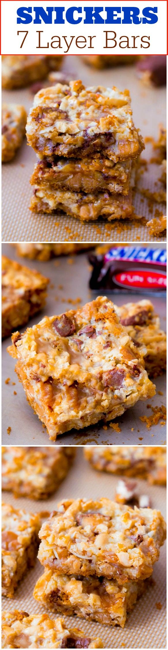 Snickers Bars - caramel-infused, 7 layered version of a Snickers Bar ...