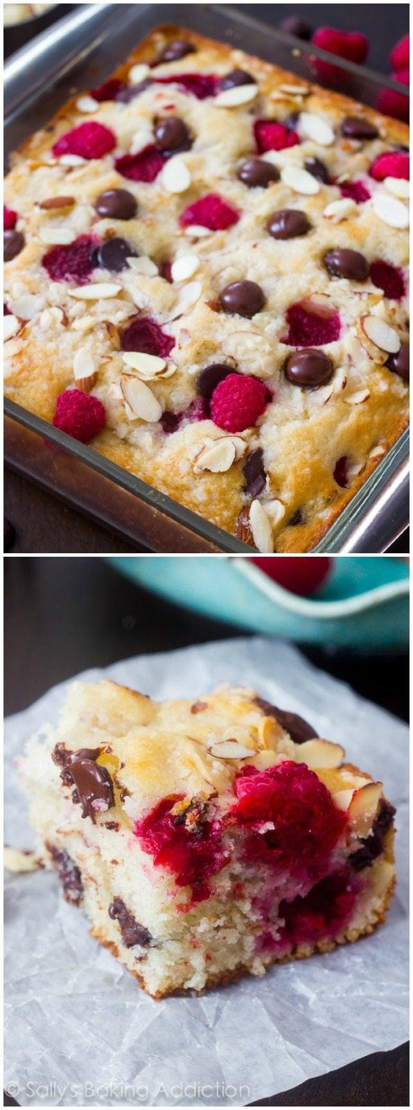 Juicy raspberries and dark chocolate come together in this simple, crowd-pleasing breakfast cake! @sallybakeblog