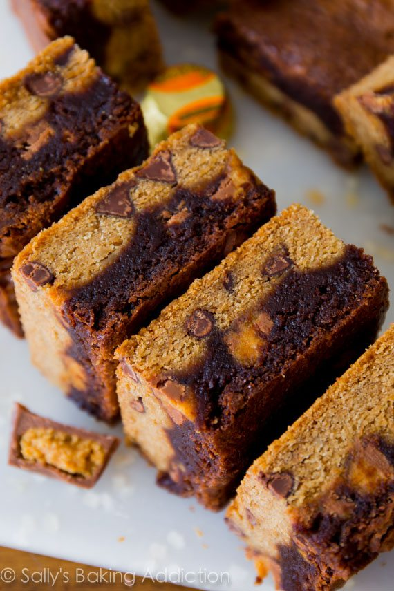 Monster Bars - aka Brownie Peanut Butter Cup Chocolate Chip Cookie Bars. Best dessert bars you could ask for!