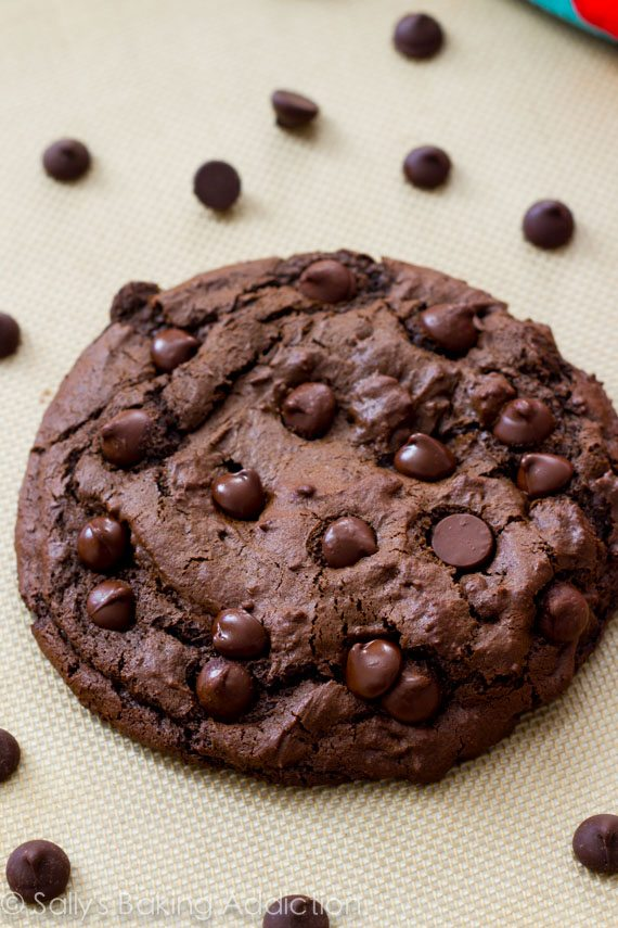 giant double chocolate cookie that is easy to make and extra fudgy ...