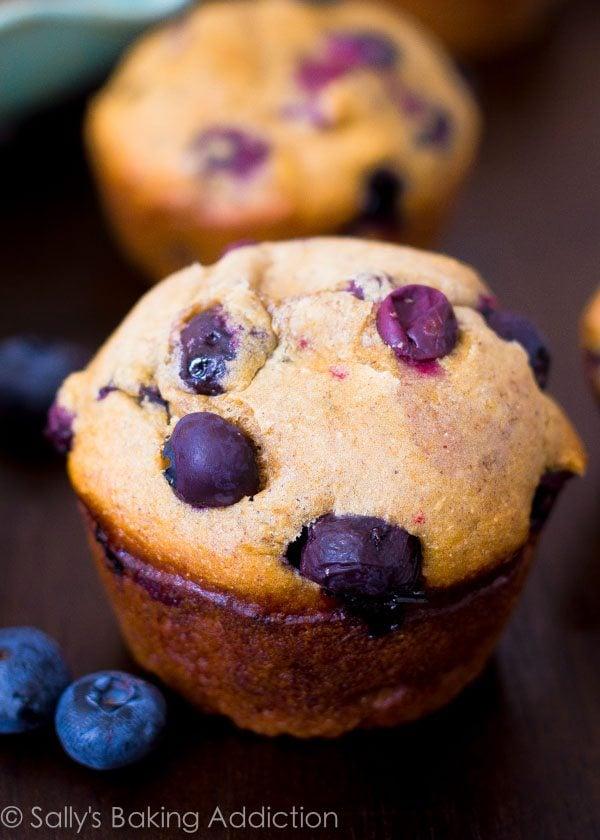 131 calorie Skinny Banana Blueberry Muffins | sallysbakingaddiction.com-4