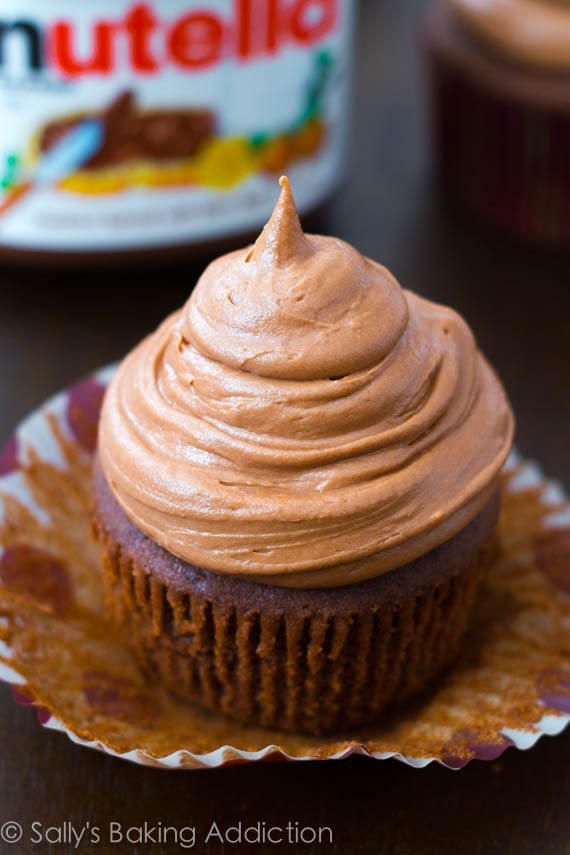 Homemade Chocolate Cupcakes with Nutella Frosting. Unbelievably good! Recipe at sallysbakingaddiction.com