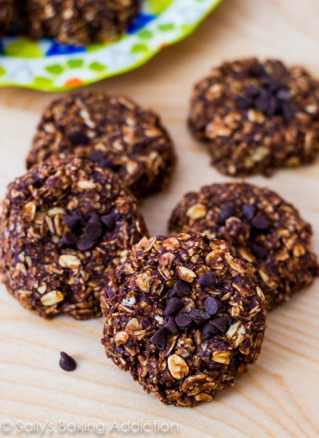 These lightened-up no bake cookies are a favorite! Made with only 7 simple ingredients like banana, chocolate, oats, and peanut butter.