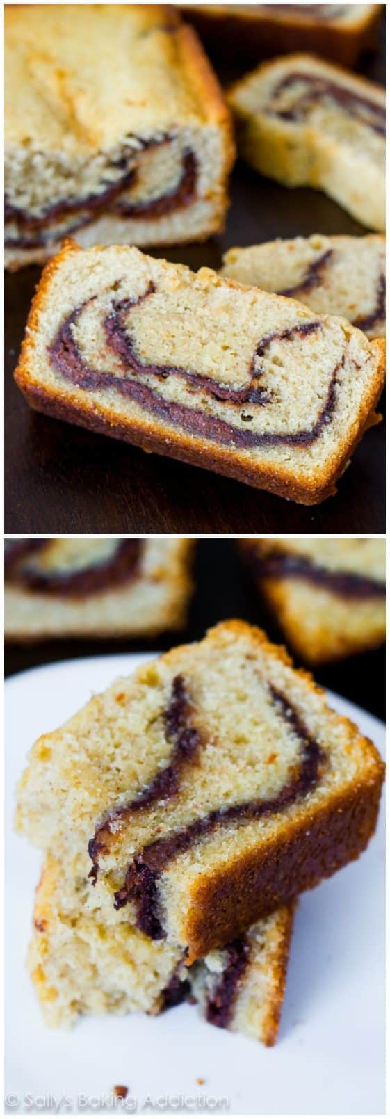 Tender and moist, this pound cake is loaded with buttery flavor and sweet Nutella swirls. It will melt in your mouth!