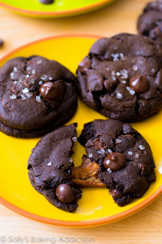 Decadent dark chocolate cookies stuffed with caramel and topped with sea salt. Totally worth every bite!