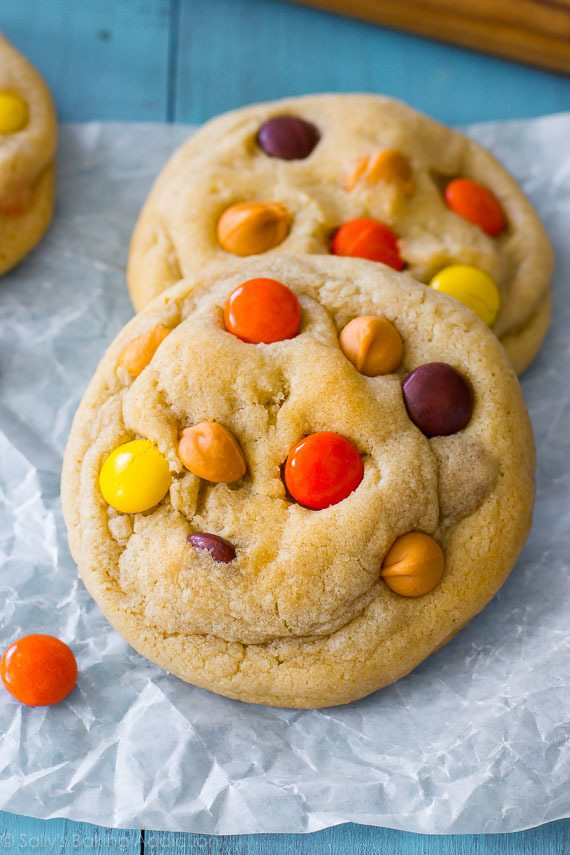 quick easy soft baked cookies with butterscotch chips and reeses pieces made with