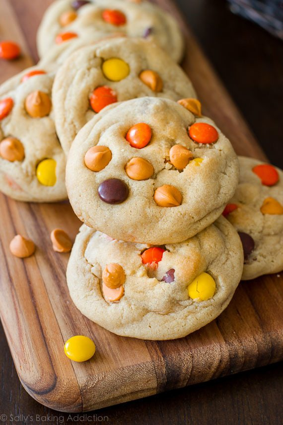 Quick & easy soft-baked cookies with butterscotch chips and Reese's Pieces! Made with melted butter and an extra egg yolk - for extra chew! Recipe on sallysbakingaddiction.com