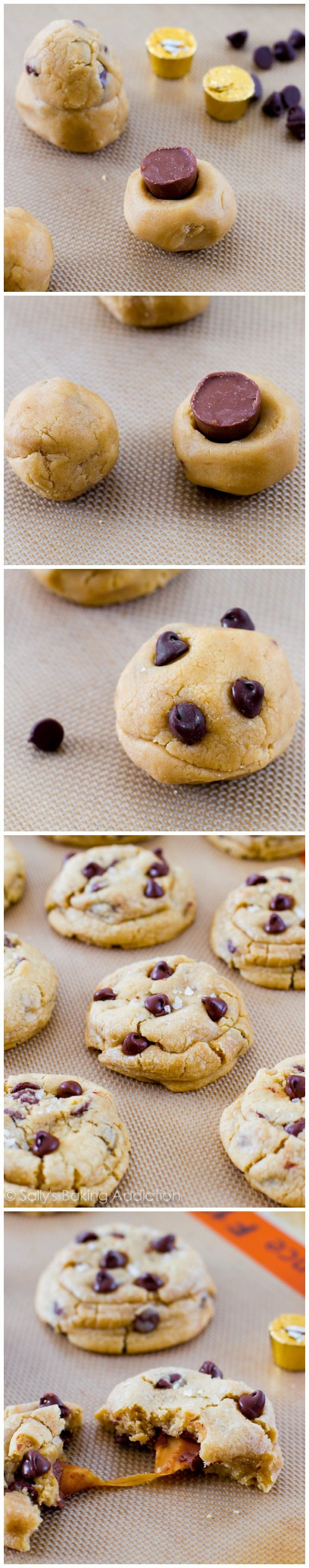 How to make Salted Caramel Chocolate Chip Cookies! These are unbelievable and disappear every time I make them!