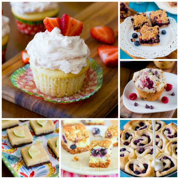 So many dessert and baked good recipes using summer fruits, including Blueberry Sweet Rolls, Strawberry Shortcake Cupcakes, Blueberry Pie Bars, Key Lime Pie Squares, and more!