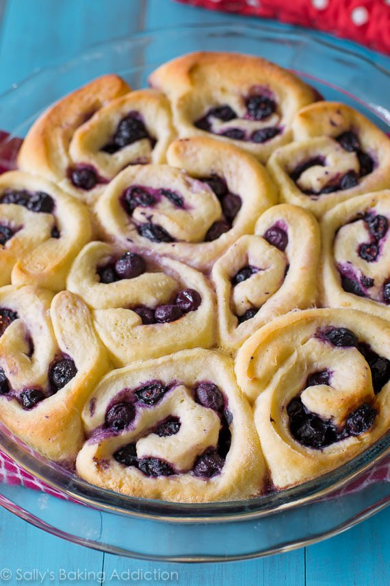 These blueberry sweet rolls only require 1 rise! The dough is very easy and the rolls are covered in lemon glaze!!