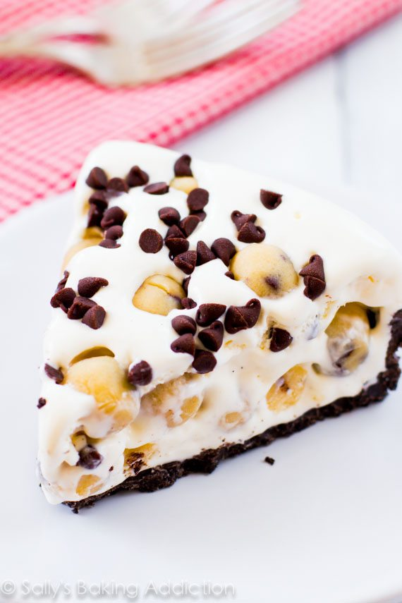 A creamy ice cream pie loaded with homemade chocolate chip cookie dough and mini chocolate chips. I went heavy on the cookie dough, of course!