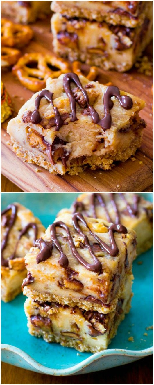 Peanut Butter Cup Pretzel Cheesecake Bars. - Sallys Baking Addiction