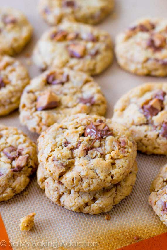 chewy, soft-baked peanut butter oatmeal cookie exploding with Reese ...