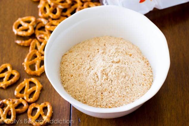 How to make a Pretzel Crust for pies and dessert bars. Read more at sallysbakingaddiction.com