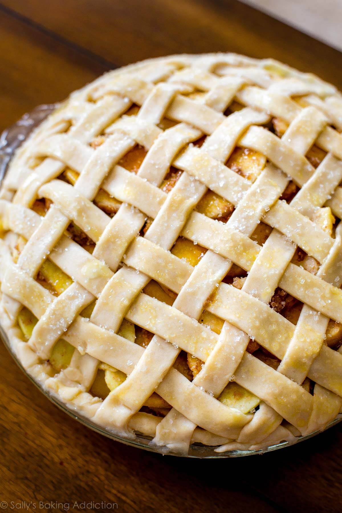 Salted caramel apple pie with lattice crust on sallysbakingaddiction.com