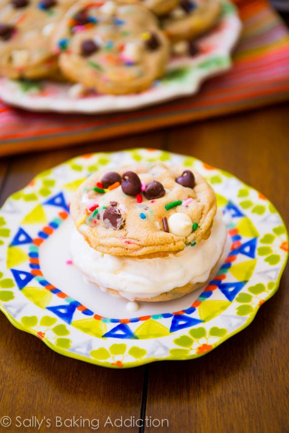 The best kind of sandwich! Made with vanilla ice cream and homemade cake batter chocolate chip cookies! sallysbakingaddiction.com