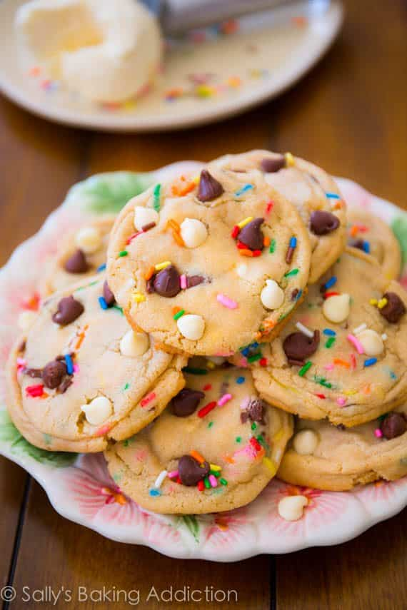 Cake Batter Chocolate Chip Cookies. My most popular recipe EVER. sallysbakingaddiction.com
