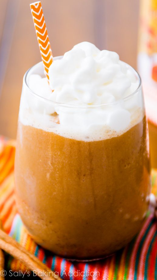 Skinny Pumpkin Spice Frappuccino with only 67 calories. You're saving a TON of money and calories making it at home! Recipe at sallysbakingaddiction.com