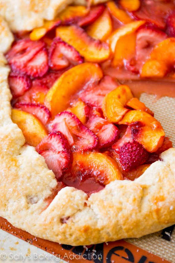 Rustic Strawberry Peach Tart recipe on sallysbakingaddiction.com