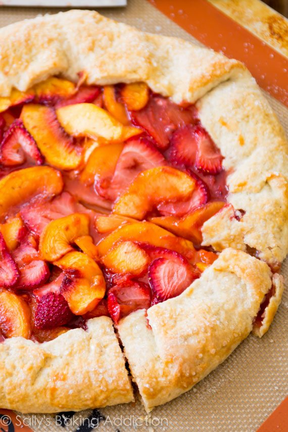 Rustic Strawberry Peach Tart by sallysbakingaddiction.com