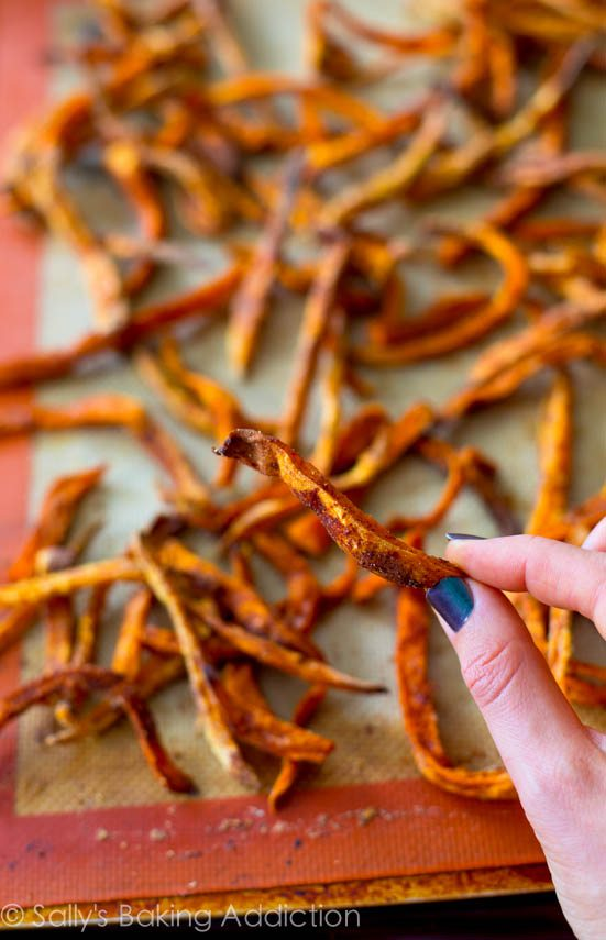 Baked Crispy Sweet Potato Fries.  Easy & cheap. | sallysbakingaddiction.com