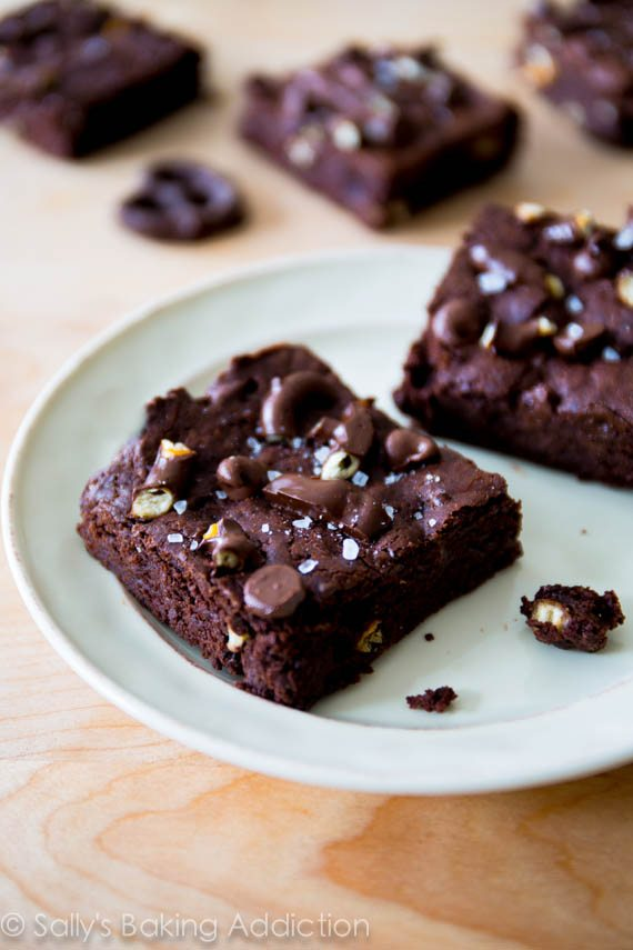 Triple Chocolate Pretzel Brownies. These easy brownies are salty, sweet, and ultra fudgy! sallysbakingaddiction.com