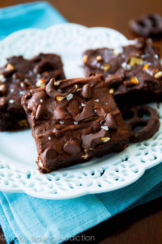 Triple Chocolate Pretzel Brownies