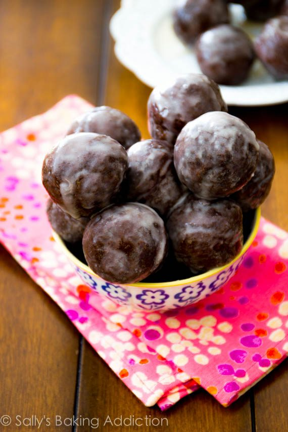 Double Chocolate Glazed Doughnut Holes Recipe — Dishmaps