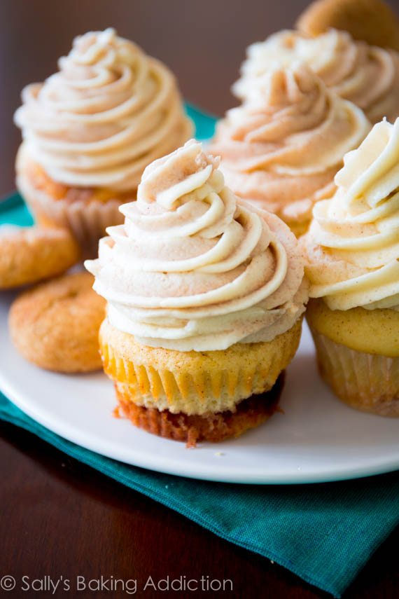 Snickerdoodle Cupcakes with a gooey cinnamon-swirl filling, topped with Cinnamon-Swirl Frosting. Yes, SO good.