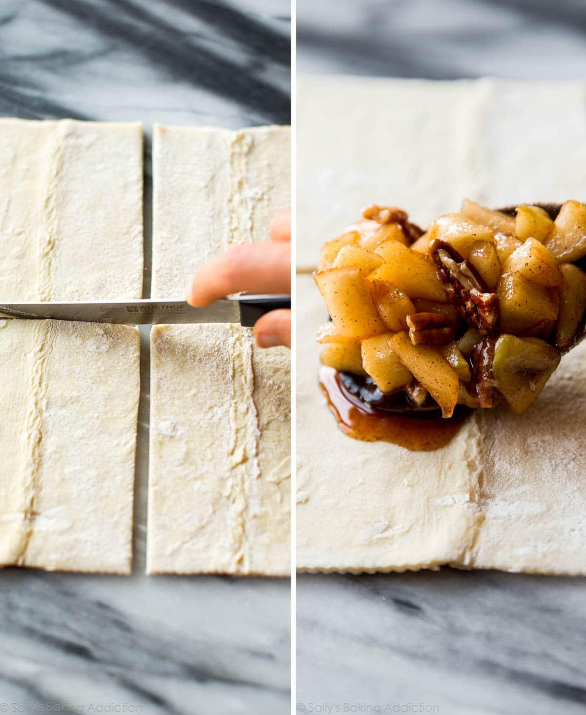 How to make easy caramel apple turnovers on sallysbakingaddiction.com