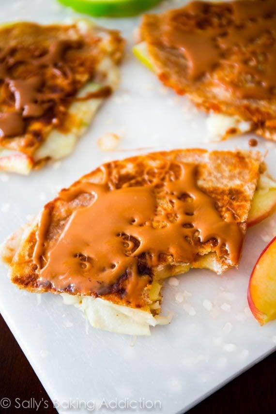 Caramel Apple Brie Quesadillas - a 20 minute recipe. Extra crispy and cheesy! sallysbakingaddiction.com